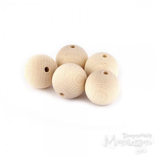 Koraliki drewniane Ø 30 mm - 5 sztuk