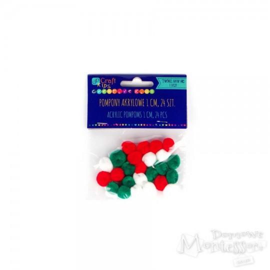 Pompony 1 cm mix kolorów 24 sztuki
