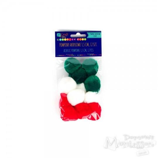 Pompony 3,5 cm mix kolorów 12 sztuk