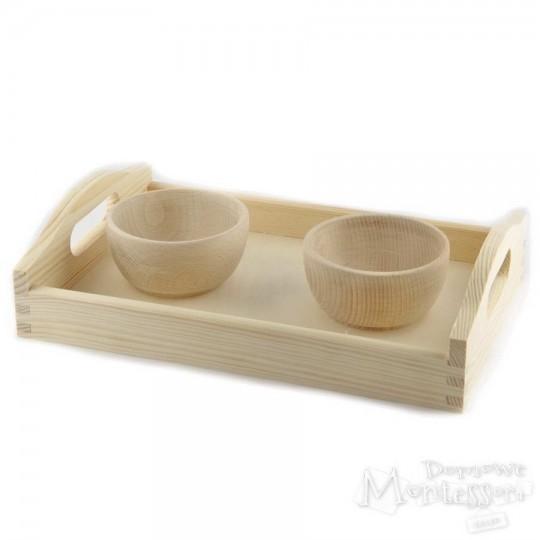Zestaw taca i 2 drewniane miseczki