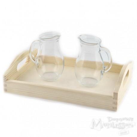 Zestaw taca i 2 szklane dzbanuszki