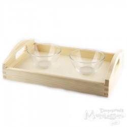 Zestaw taca i 2 szklane miseczki