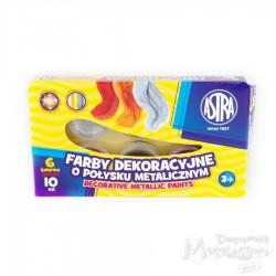 Farby dekoracyjne Astra o połysku metalicznym 6 kolorów, 10 ml