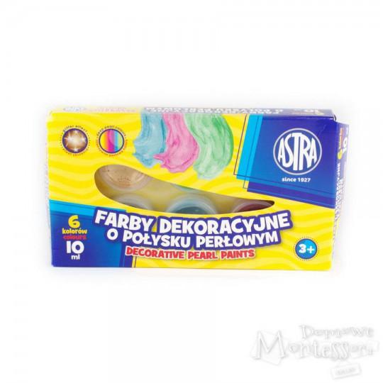 Farby dekoracyjne Astra o połysku perłowym 6 kolorów, 10 ml