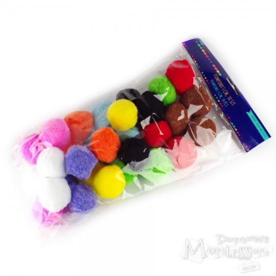 Pompony 5 cm mix kolorów, 30 sztuk