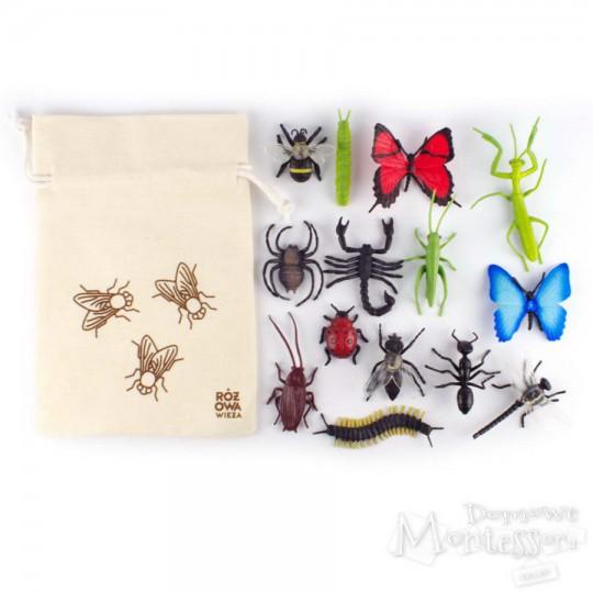 Figurki owadów w woreczku