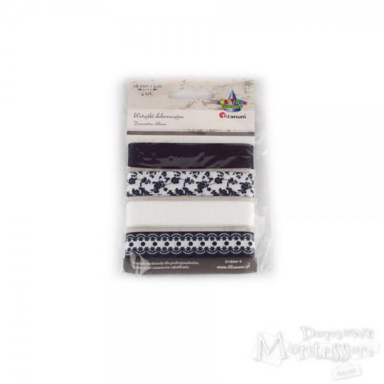 Wstążki 4 wzory - czarno-białe