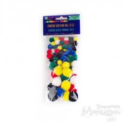 Pompony mix kształtów i kolorów, 78 sztuk
