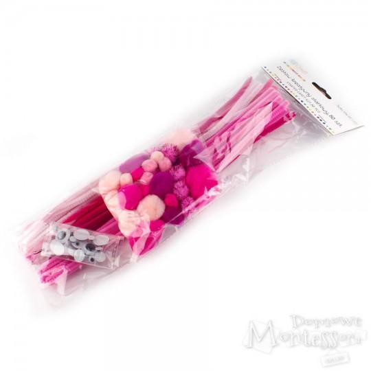 Zestaw kreatywny, różowy, 80 sztuk